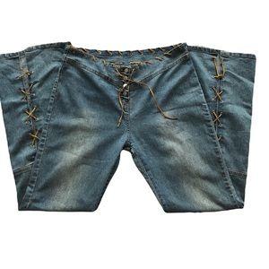 KENZIE Button up Lace up BOHO wide leg Size 12 jeans. Y2K